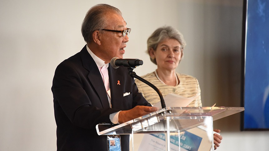 Yohei Sasakawa announces the launch of Seabed 2030 at the Oceans 8 award ceremony